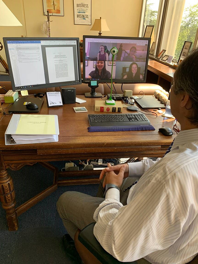 Judge Douglas Nazarian on a Zoom meeting call with Summer interns
